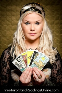a fortune teller with traditional tarot cards